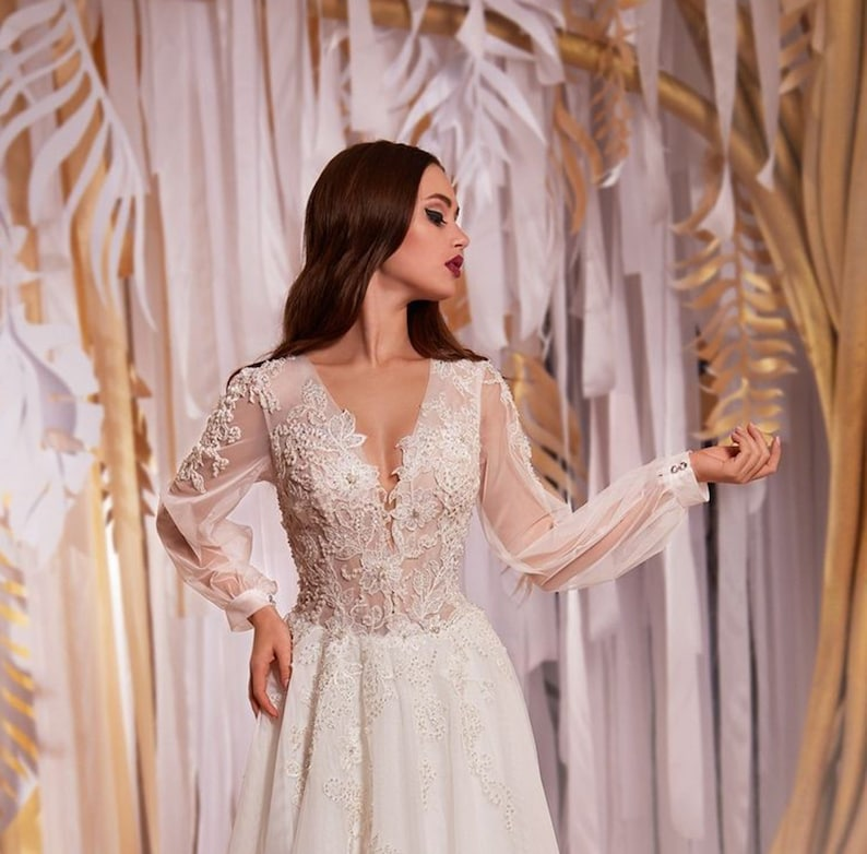 Stunning White Lace Tulle Wedding Dresses,Romantic Beaded Bridal Dresses,Plus Size Wedding Gown sold by Handmade Dress