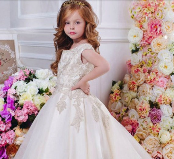 f0b9fdb7f97 White and gold satin flower girl dress with train for