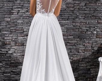 Stylish chiffon wedding dress with beautiful back