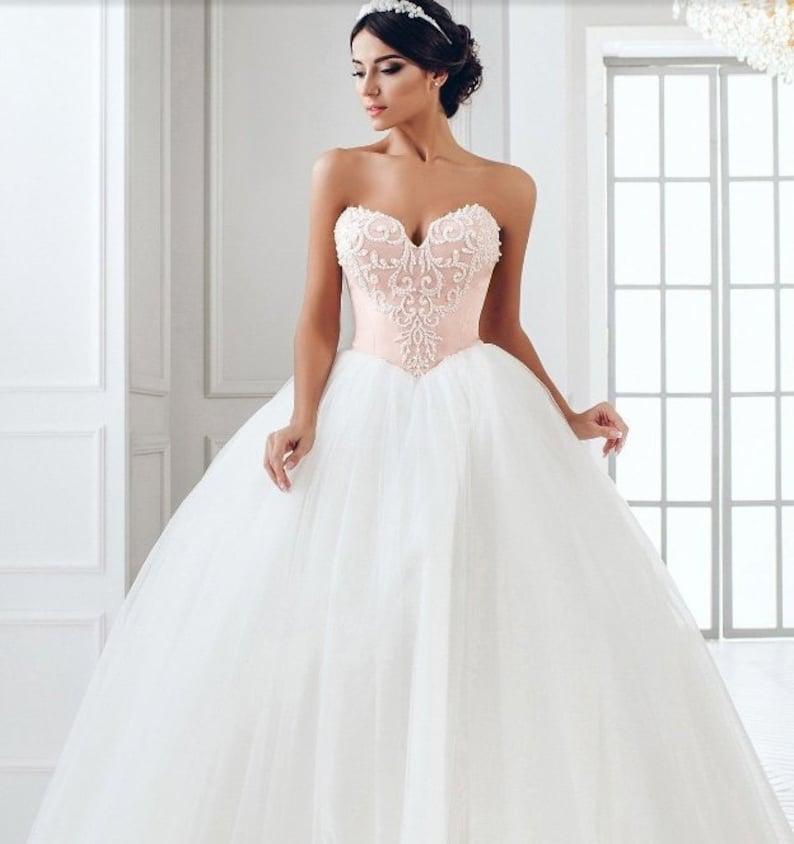 Blush pink and ivory wedding dress Open wedding dress lace and tulle  wedding dress blush pink vintage wedding dress any sizes PLUS SIZE
