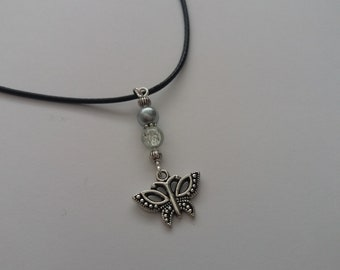 Waxed cord Butterfly Choker Necklace with Glass Beads and extension chain, Gift for Her