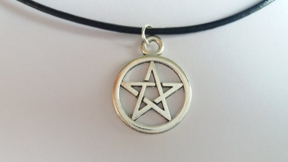 Leather Pentagram Necklace, Wicca Necklace, Gothic Necklace, Pentagram Jewellery, Wicca Charms, Real Leather Necklace, Gift For Her by Etsy