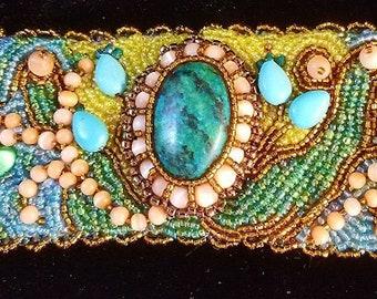 Sea Treasure bead embroidered cuff