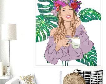 DIGITAL Custom Portrait Illustration.  Fashion Sketch Lifestyle Interior Design Painting