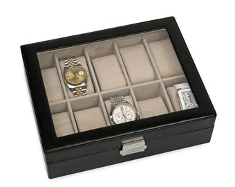 Leather 10 compartment Jewelry / Watch Organizer Show Case with Glass Hinged Lid