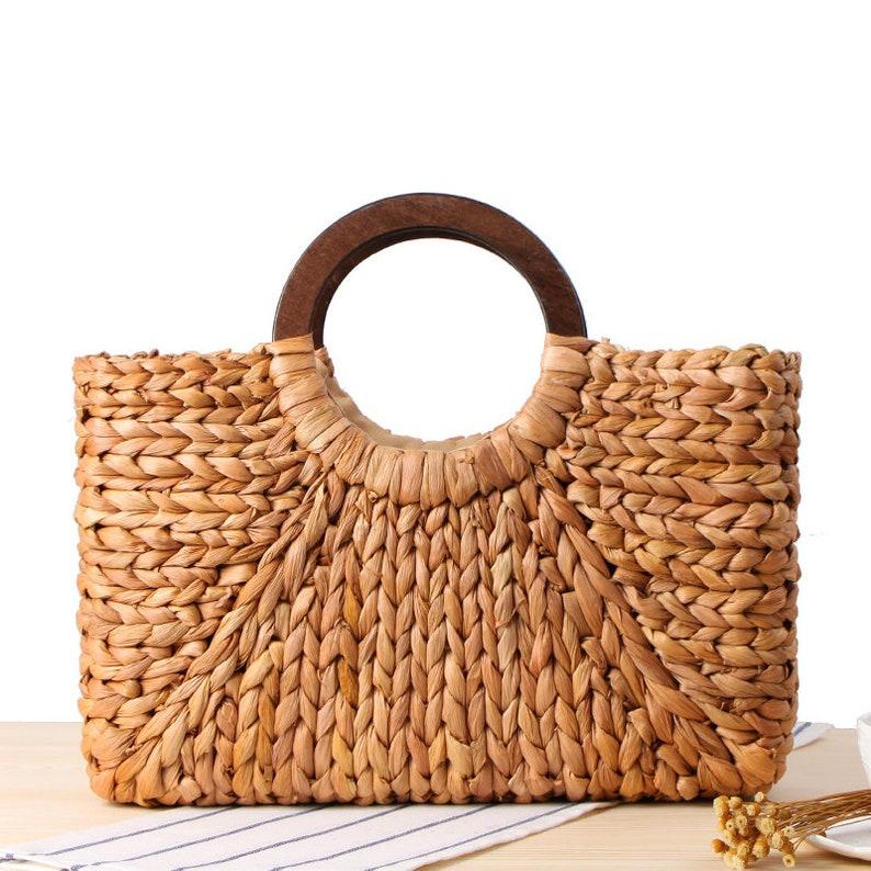 3d5e239325696 Handgemachte Mais Schale Stroh Tasche weiblich Handtasche