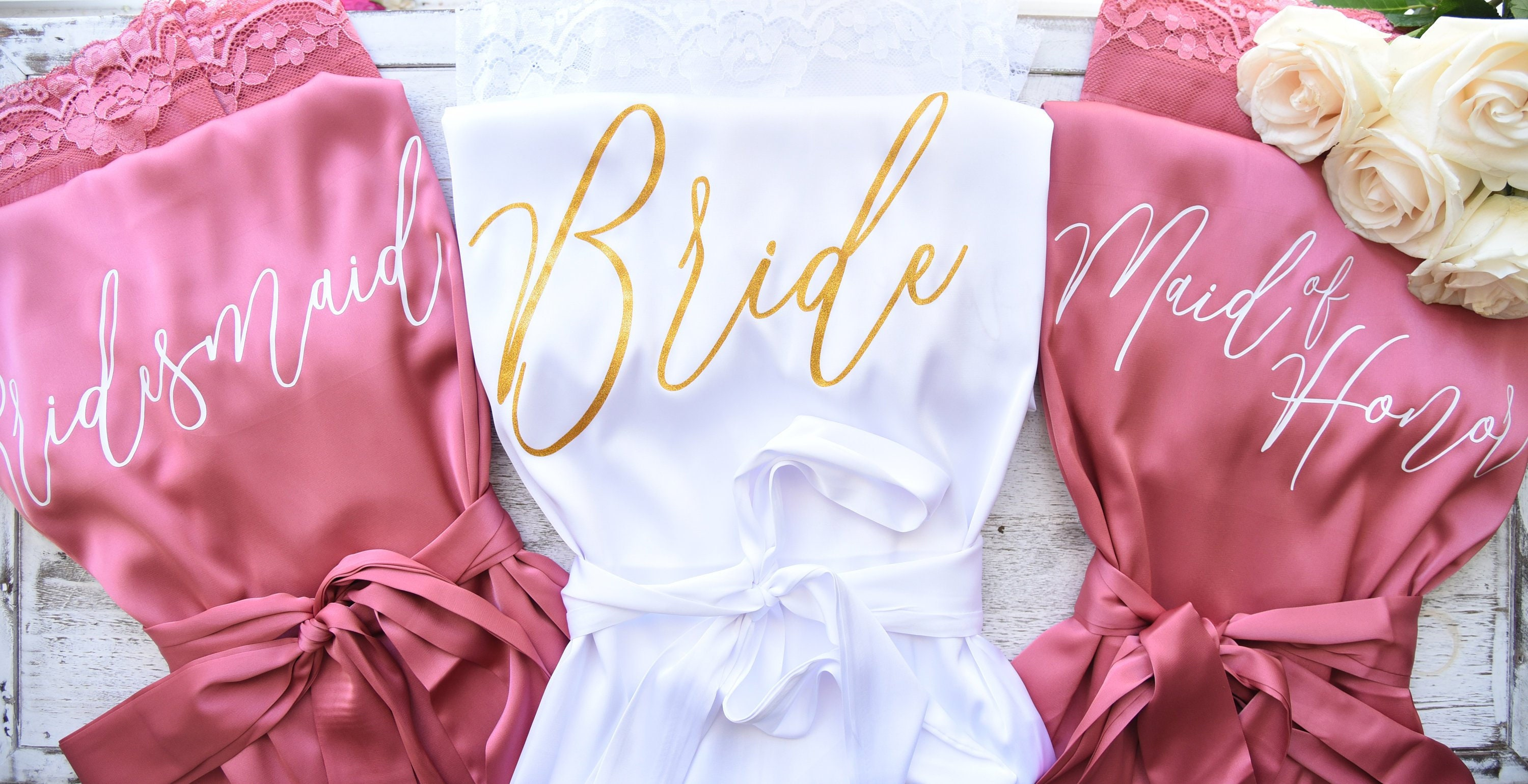 Bridesmaid Robes//Flower Girl//Satin Lace Robe//Bridal Squad//Bridesmaid Gift//Personalized Bridesmaid Maid of Honor Wedding Robes