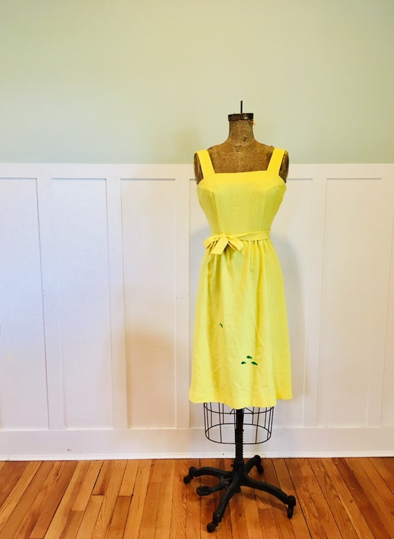 Yellow Sun Dress with Green Fish Detail
