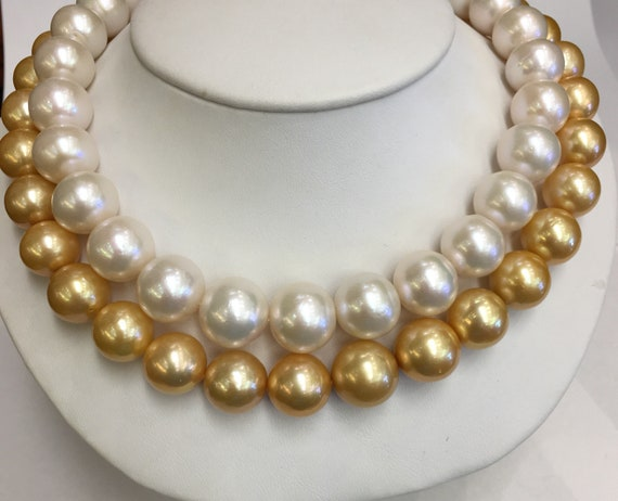 "Gold and White Pearl Chokers  14x12mm  Cultured Freshwater Pearls 17""  . 2, 14k Gold Clasps"