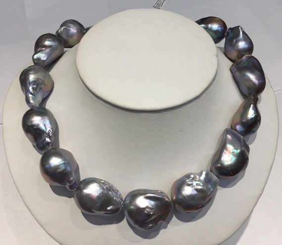 """Gray Baroque Freshwater Pearls  17"""" 14k Gold Clasp"""