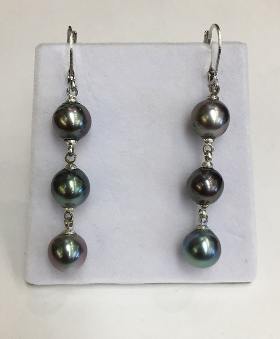 9.5x 9mm Tahitian Cultured South Sea Pearl Earrings  Nice Color and Luster