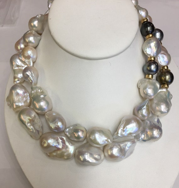 "2 Strands Baroque Cultured Freshwater with aTahitian South Sea Pearls  16.5"" and 17.5""Silver Clasp  and Matching earrings"