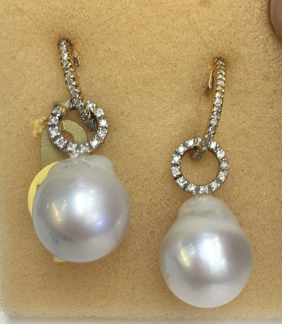 12.3mm Tahitian South Sea Pearl Earrings  14k Gold   .50 TDW