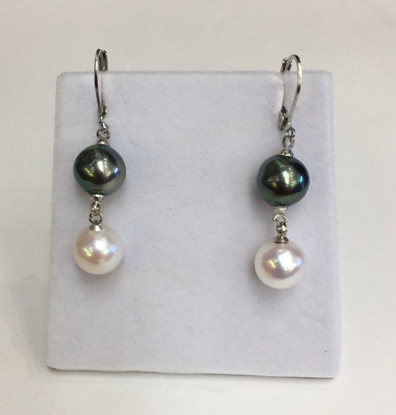 9.5mm Tahitian Cultured South Sea and Cultured Freshwater Pearl Earrings  Nice Color and Luster
