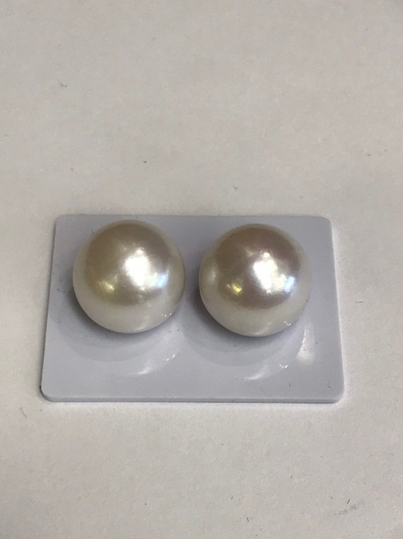 15.5 mm Cultured Freshwater Pearl Earrings 14k Gold  Good Luster and Color