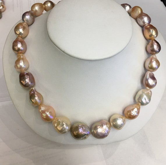 """Multi Color Baroque Cultured Freshwater Pearls  12x15mm  Great Colors   17""""  14k Gold Clasp"""
