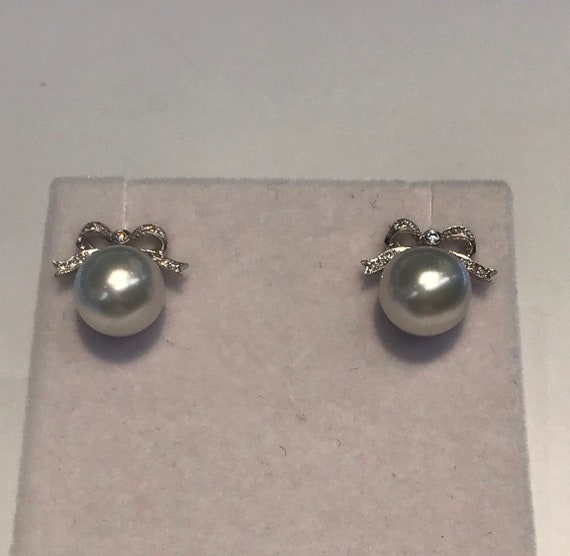 Platinum with Diamonds and South Sea Pearls Earrings 10mm