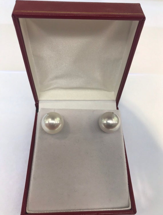 13mm South Sea Pearl Earrings  14k Gold  Good Luster  No Spots