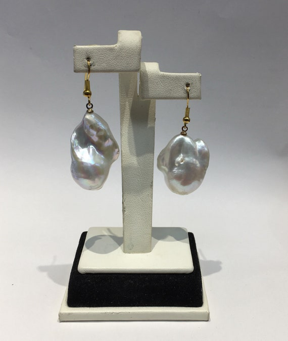Baroque Cultured Freshwater Pearl Earrings  24k Gold Plated Silver