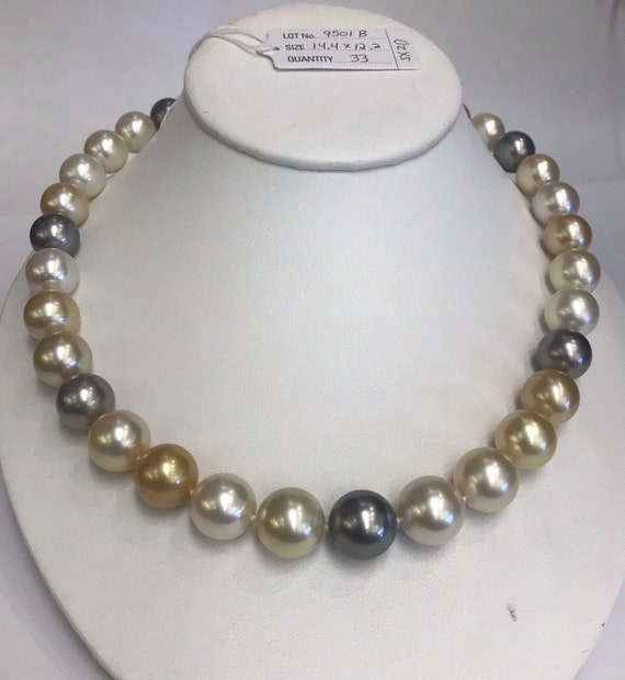 """Multi Color South Sea Pearls 14.4x12.2mm   Natural Colors  17"""" Gold and Diamond Clasp 17"""""""