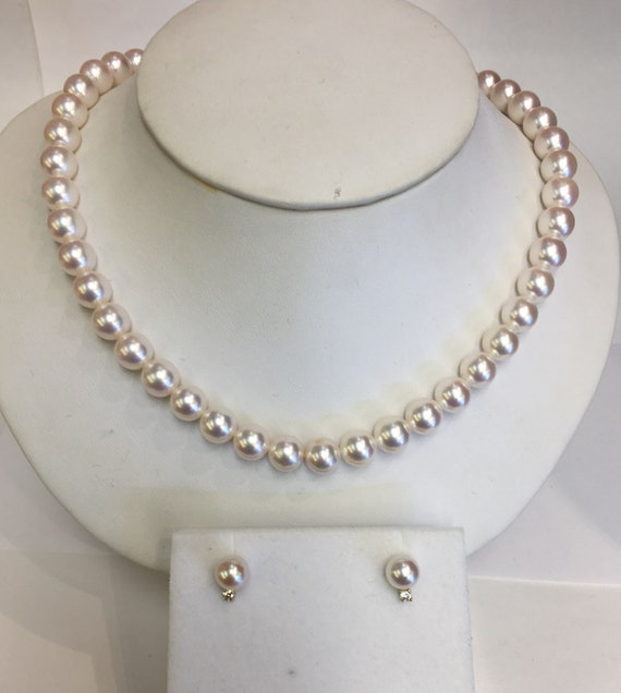 8mm Akoya Pearls Very Fine Quality 14k Gold Clasp  7.5mm Earrings with .18 TDW