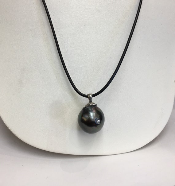 17mm  Tahitian South Sea Pearl and Diamonds Pendant  Leather Cord  Adjustable Length Leather Cord Tahitian Pearls appr diamond weight .40 ct