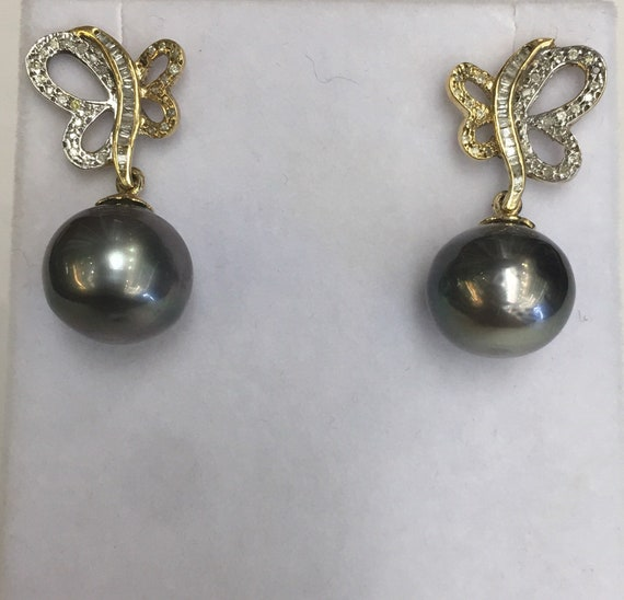 12.8mm Tahitian South Sea Pearl Earrings  14k Gold   .55 -TDW