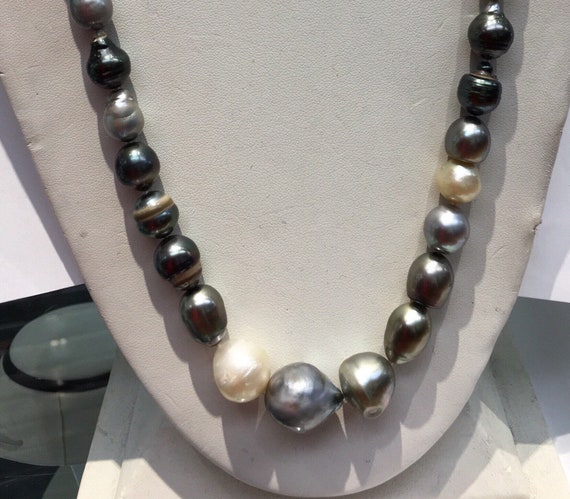 Multi Color Tahitian South Sea Pearls 7.5x16mm   Magnetic Silver Clasp  Great Colors   30""