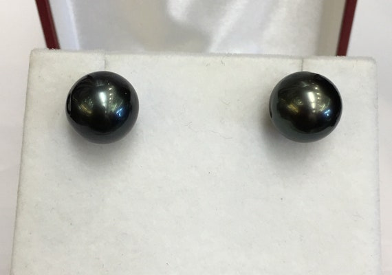 12.5mm Tahitian South Sea Pearl Earrings  14k White Gold