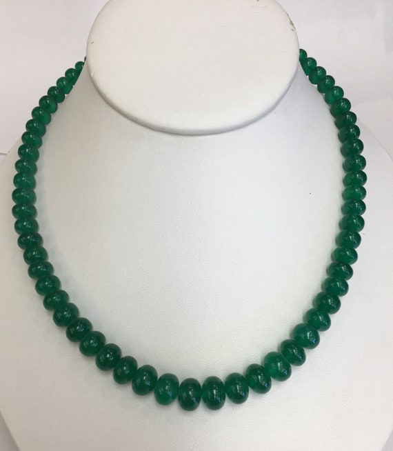 "Green Onyx Strand  6x10.5mm   17""  Silver Clasp"