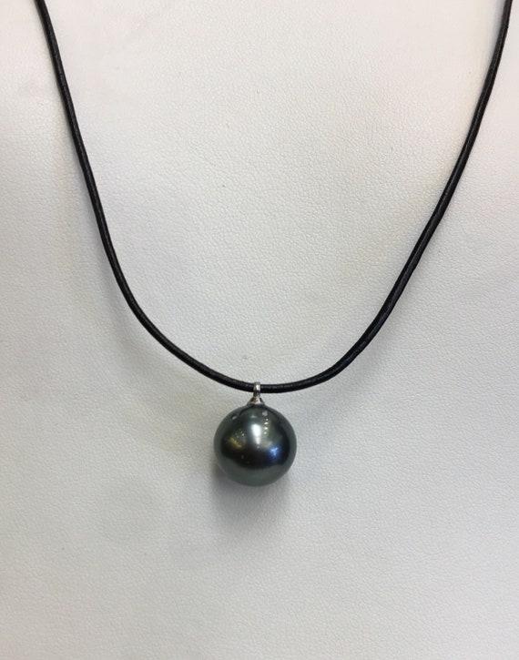 13.2mm Tahitian South Sea Pearl Pendant  Leather Cord  Adjustable Length