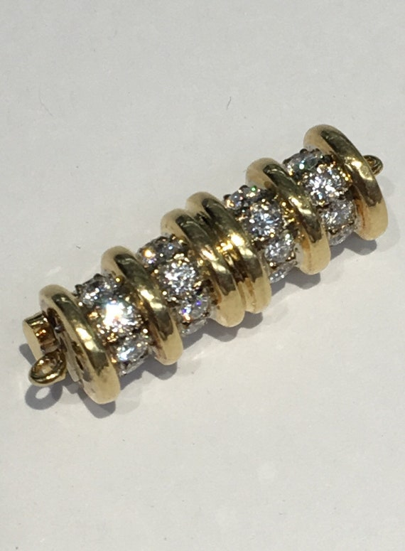 18k Gold And Diamond Ball Clasp, 12mm  Screw Clasp  , 2 carats TDW