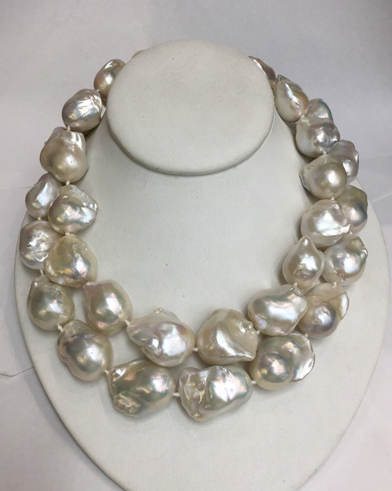 "2 Strands Baroque Cultured Freshwater Pearls  16.5"" and 17.5""Silver Clasp  and Matching earrings"