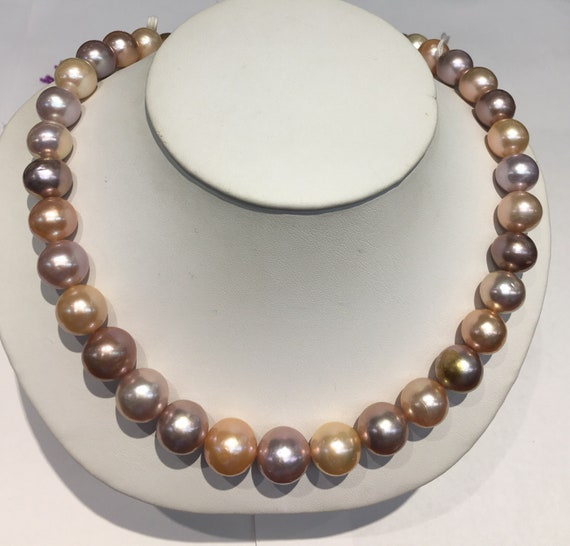 """Multi Color Cultured Freshwater Pearls  11x13mm 14k Gold Ball Clasp  17""""  Great Colors  Very Bright Necklace"""