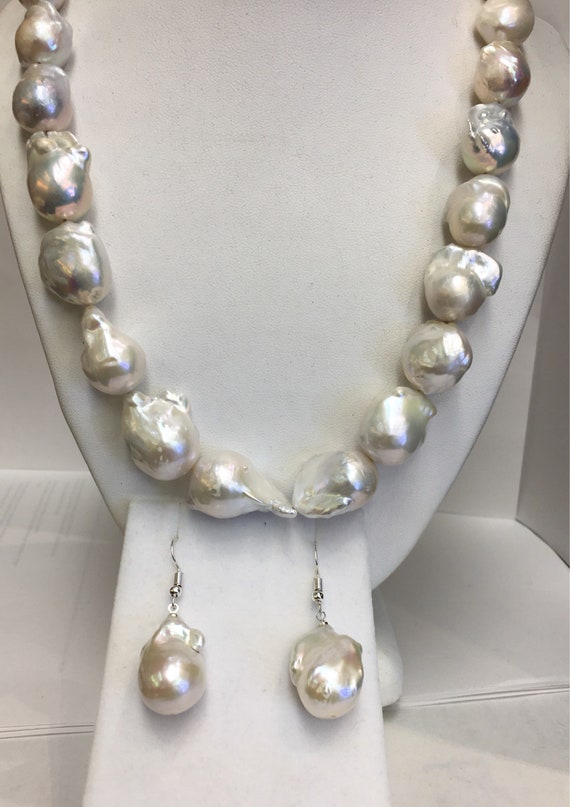 "Baroque Cultured Freshwater Pearls  20""  Silver Clasp  and Matching earrings"
