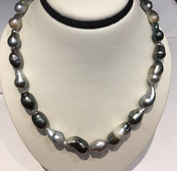 "Tahitian South Sea Pearl Necklace  17""  Silver Clasp   8.5x10.5mm"