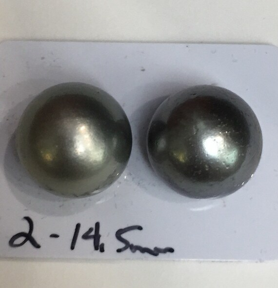 14.9mm  Tahitian South Sea Pearl Earrings  14k Yellow Gold