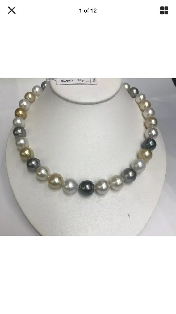 """Multi Color South Sea Pearls 12x13.9mm  Natural Colors  17"""" Gold and Diamond Clasp"""
