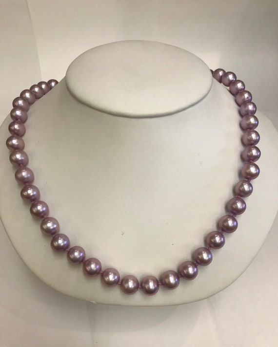 "8.5mm  Purple Colored Cultured Freshwater Pearls   16""  14k Gold Clasp"