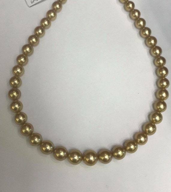 """Gold South Sea Pearls Natural Color  Deep Gold  Round Great Luster  Round  14k Gold Clasp  17"""""""
