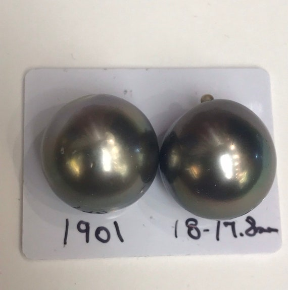 17.8and 18mm Tahitian South Sea Pearls Great Lustet and Luster , Button Shapes  faces up Clean