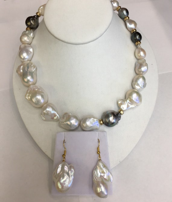 "Baroque Cultured Freshwater Pearls  17"" Tahitian South Sea Pearls  14k Gold Rindels and Clasp  and Matching earrings"