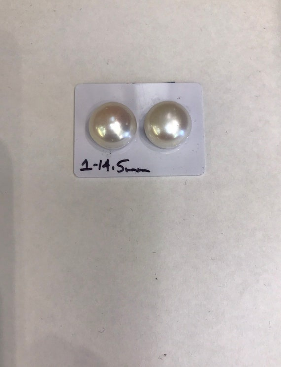 14.5mm 14k Gold Cultured Freshwater Pearls  mounted on 14k Gold