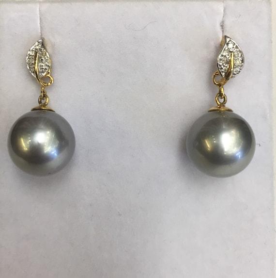 12.5mm  Tahitian South Sea Pearl Earrings  14k Gold   .15 TDW
