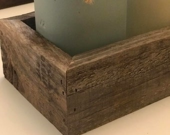 Mason Jar Decor in Aged Wood Holder - Mason Jar Centerpiece - Rustic Mason Holder -  Coffee Table Centerpiece - Farmhouse Decor - Rustic
