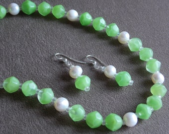"White Freshwater Pearl and Vintage Green Givre Glass Necklace with Matching Earrings.  21  1/2"" Givre Glass and Pearl Necklace, Earrings"