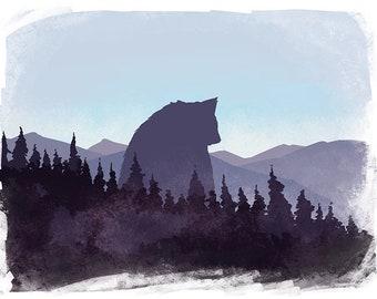 Big Bear Holographic Poster