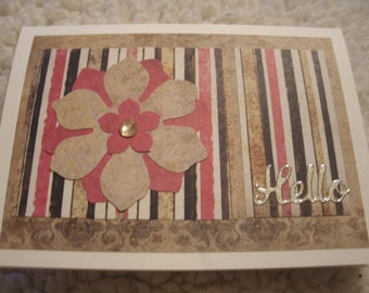 Hello greeting card with triple layer flower & gem