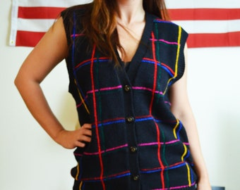 Preferred Classix Black Striped Red/Blue/Pink/Yellow Quirky Vintage Sweater Vest Size Medium