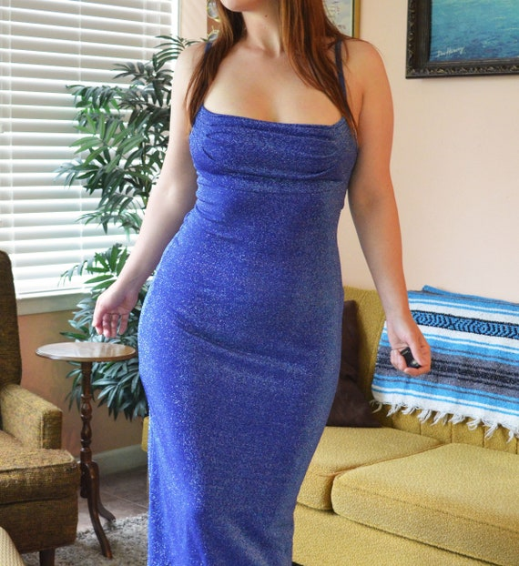 Vintage Sparkly Blue Bodycon Maxi Pencil Dress All That Jazz Formal Evening Gown Dress Size Medium